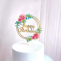 Moda Bolo Decoração Inserção Inserção Acessórios Amor Acrílico Flor Novo Feliz Ornamentos Casamento Suprimentos 3ZW K2