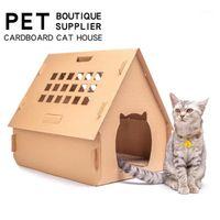 Animal de estimação mobiliário diy caixa caixa gato casa tem pequenas janelas ferramentas arranhão placa auto montagem kitten interior papel ondulado casa1