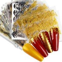 LCJ Goldene 3D Nagel-Kunst-Kleber-Aufkleber Geometrische Streifen-Linie Entwurf Foils Sliders für Nägel Dekoration-Abziehbild-Maniküre
