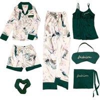 FOPLY 7 peças Womens Silk cetim pijama sleepwear pijama pijama terno feminino dormir dois pedaço conjunto de loungewear