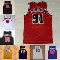 Vintage Männer Dennis 91 Rodman Jersey Wilde College 10 Basketball Trikots 73 blau weiß gelb lila rot schwarz genäht