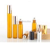 500 adet / grup Mini 3 ml 5 ml 10 ml Temizle Amber Cam Rulo Üzerinde Şişe Uçucu Yağ Parfüm Paslanmaz Çelik Rulo