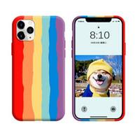 perakende paketleri ile orijinal Iphone için 12 küçük 11 yanlısı xs maksimum xr x 8 7 6 artı sıvı silikon kauçuk cep telefonu kasayı Gökkuşağı renkleri