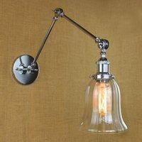 Chrome Loft Style Lampada da parete vintage Vintage Fixtures Cafe Room Braccio lungo Braccio retrò Lampada da parete Sconce Lampen Arandela Apliques Pared