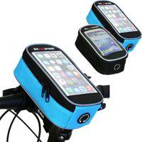 saco tela bicicleta guiador toque bicicleta mtb impermeável para bolsa de telefone celular 5,5 polegadas Ciclismo frente quadro de direção sacos de rodas