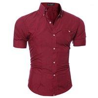 Camisas casuales de los hombres TJWLKJ algodón manga corta para hombres verano negocio formal slim fit camiseta camiseta homme1
