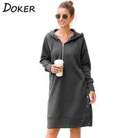 Herbst Winter Hoodie Kleid Frauen Langarm Plus Größe Casual Harajuku Warme Übergroße Pullover Weibliche Mode Lange Sweatshirts 201201