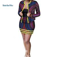 Escritório Outono Mulheres Projeto Africano Vestuário Cópia Casaco e Saias Conjuntos de Mulheres Roupas Africanas Personalizadas Custom 2 Peças Saias Sets WY3382