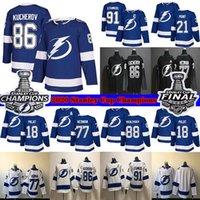 베이 번개 2020 스탠리 컵 챔피언스 86 Nikita Kucherov 77 Victor Hedman 91 Stamkos 21 Brayden Point 18 Palat Hockey Jerseys