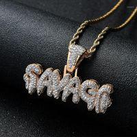 Men's gelados para fora selvagem pingente colar de ouro banhado micro pave zircão cúbico hip hop gems druzy jóias presentes1