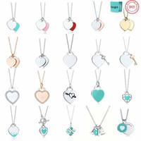 TIFF 925 Pingente de prata colar de jóias femininas artesanato requintado clássico coração azul atacado