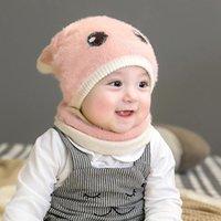 Orelha malha bebê Chapéus cachecol de lã Venonat Turban Beanie quentes Caps bonito chapéu para Childern Meninas Meninos Bonnet Outono Inverno Ne