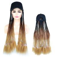 Longue synthétique de baseball Chapeau perruque avec Tressé Boîte Tresses Perruques Wear Daily Ombre Tresses Chapeau perruque réglable pour les femmes noires