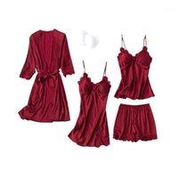 여성용 잠옷 여성 Silky 4pcs 레이스 잠옷 섹시한 가슴 패드 카미 탑 반바지 나이트 가운 가운 세트 x3ue1