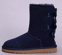 Classic Tall botas de las mujeres de la venta caliente nuevas mujeres de la muchacha de la manera botas de invierno de arranque fucsia negro azul zapatos de cuero rojos