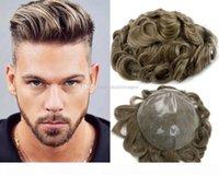 Em stock Frete grátis moda misturada cor marrom tpeee para desbaste cabelo homens lace homens peruca peças de cabelo brasileiro substituição de cabelo humano