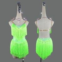 Latin Dance mujeres se visten de 2020 nuevo del verano atractivo verde sin respaldo borla Rumba Samba América traje de la danza de la falda de la competencia