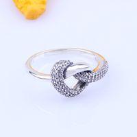 Nova Chegada Knotted Heart Anel Caixa Original para Pandora 925 Sterling Prata CZ Diamante Mulheres Casamento Presente Jóias Anéis Conjuntos