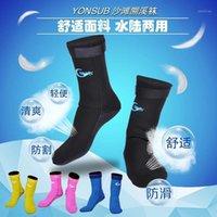 3mm взрослые носки неопрена для подводного плавания для подводного плавания, предотвратить царапины нескользящих носков плавания черный дайвинг для плавника / пляжа