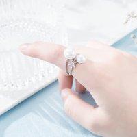 Neue stil europäisch heißer verkauf micro-inlaid zirkon perlen ring schmuck mode frauen marke luxus hochwertige nachahmung platin ring geschenk