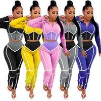 RStylish Sportwear Patchwork Frauen-Sets volle Hülsen-Reißverschluss-Top-Rüttler Hosenanzug Anzug Fitness 2 Stück Outfit Matching Set