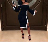 امرأة جديدة ضئيلة أسود مثير قبالة الكتف ميدي اللباس فساتين طويلة الأكمام xl فام vestidos غير النظامية مكتب سيدة ليلة نادي حزب
