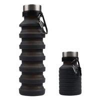 550ml 19oz Botella de agua de silicona retráctil portátil plegable plegable plegable de café de la botella de agua de la botella de beber tazas B 106 J2