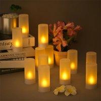 Аккумуляторные светодиодные мерцающие беспламенные свечи Tealight свечи свечи с матовыми чашками зарядки база желтого света 4/6 / 12шт / набор Y200531