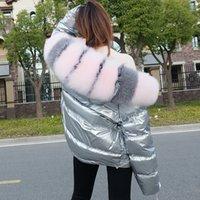 Maomaokong Invierno Real Fox Cuello de piel blanco pato abajo acolchado abajo chaqueta de moda regular moda cálido gran cuello de piel abrigo de mujer 201203