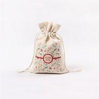 Sac d'emballage cadeau de Noël 13 Styles main sac de rangement de Noël coton Drawstring stockage cadeau sac Livraison gratuite GGB2344