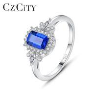 Anneaux de cluster CzCity 925 Sterling Silver Bague pour femmes Engagement Bleu Gemstones Accessoires CZ Fine Bijoux Cadeaux de Noël Anillos SR60