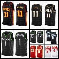 2021 New Mens Basketball Jersey MinnesotaLobosAtlantaHawk Mens 21 Garnett 1 Edwards 32 ciudades 11 jóvenes 4 Webb