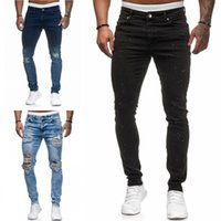 Hombre moda cremallera pantalones vaqueros universidad chicos flaco recta cremallera denim pantalones destruidos destruido jeans azul negro