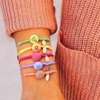 Handgewebt 12 Tierkreisarmband Neue Ankunft Design Wachs Seil Keramik Perlen Charme Armband Für Mädchen Frauen