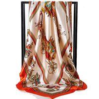 여성 봄 문자 패턴의 고급 스카프 고품질 폴리 에스테르 실크 롱 스카프 90 * 90cm를위한 새로운 디자이너 스카프