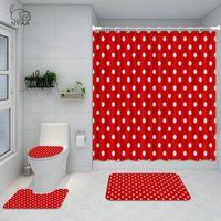 NYAA Vintage pois salle de bains Ensemble Nostalgiques Filles Trendy Vintage toilettes rideau de douche imperméable Couverture Mat Non Slip Tapis