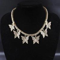 المختنقون فراشة كبيرة سحر القلائد النساء مجوهرات 1 صف التنس سلسلة 16 بوصة الذهب والفضة اللون بلينغ الهيب هوب راب صخري التصميم