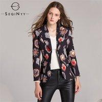 Seqinyy vintage blazers adiantado outono mulher nova manga longa alta rua impressa Única jaquetas de moda entalhadas de peito 201105