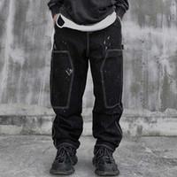 Модные чернила для печати заплатки джинсы Мужчины Причинная Hiphop Гарем Denim штанах Сыпучие мешковатые джинсы прямые брюки ретро