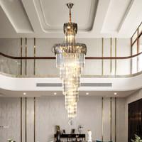 الثريا الكريستال الفاخر لدرج حلزوني تصميم الثريات الحديثة إضاءة المدخل اللوبي مصابيح ديكور المنزل مصابيح DHL UPS