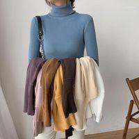 Suéteres de mujer Borruice 2021 otoño invierno tortuga de tortuga pullovers primer camisa de manga larga coreana coreana delgada suéter apretado1