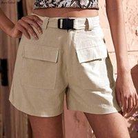 Pantaloncini da donna Borntogirl 2021 Summer Autumn Moda Safari Women High Waist Khaki Shorts1