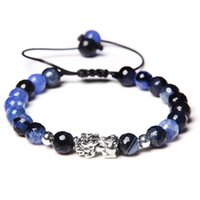 Abalorios, Strands Hombres Pulsera 8mm Round Agates Natural Beads Piedra Color Pixiu Charm Buddha Joyería ajustable para mujeres