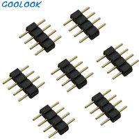 5pcs / lote, 4pin 4pin RGB Conector LED, aguja de 4 pines, tipo macho Double 5 Pin, para 3528 2835 5050 RGB RGBW LED Conector de tira