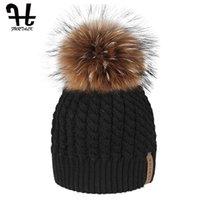 Beanie FURTALK invernale per le donne Pompon Cappellino inverno caldo cappello doppio strato femminile Cap con il Real Raccoon Fur Pom Pom 201009