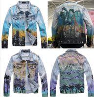 Denim Ceket Erkekler Hip Hop Streetwear Coat Baskı Kovboy Yırtık Sıkıntılı Jean Ceketler Erkekler Hindistan Cevizi Ağacı Büyük Boy M-XXXXL