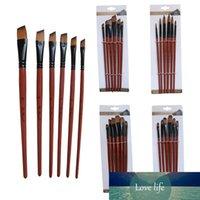 6 pcs pintura artesanato nylon cabelo marrom caneta escovas modelo artista artista pintura pincéis conjunto acrílico óleo aquarela