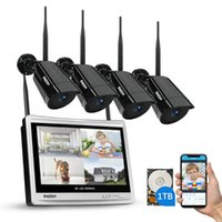 TMEZON 4CH système sans fil de surveillance 1080P 12 pouces LED écran Wifi NVR 2MP extérieure vision nocturne Système de caméra de sécurité