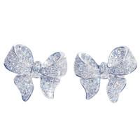 Pendientes lindo del Bowknot nueva llegada S925 Pendiente de plata de color para Mujeres con el diseño de circón piedra de la manera joyería de los pendientes 2020 venta caliente