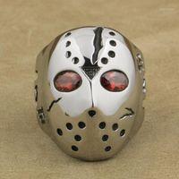 316L Edelstahl Halloween Jason Maske Hockey Rote CZ Eyes Herren Ring 3F301A1